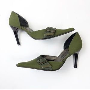🌿Minelli Green Pointed Toe Heels